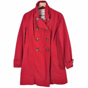 Old Navy Rain/Trench Coat Belted Cotton Red - S/M